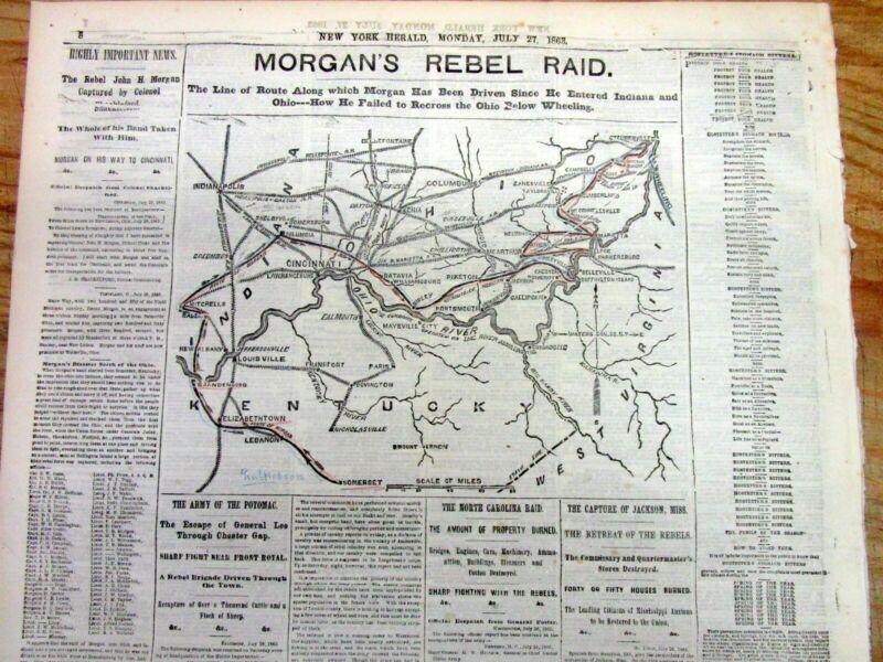 Best 1863 Civil War newspaper with CAPTURE of CONFEDERATE GENERAL JOHN H MORGAN
