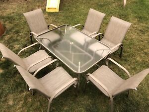 Patio Table, 6 Chairs, Umbrella w/Stand