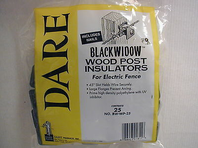 Dare - Black Widow Electric Fence Insulators - For Wooden Posts - 25pk.