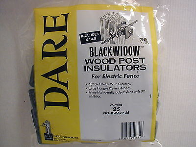 Dare - Black Widow Electric Fence Insulators - For Wooden Po