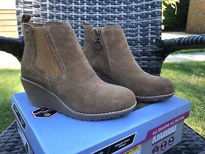 "Khombu ""Liz"" - Memory Foam Suede Ankle Boots - Chestnut UK SIZE 4 BNIB"