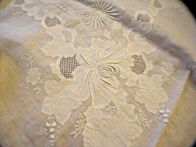Vtg MADEIRA White Tablecloth ORGANZA & LINEN EMBROIDERED & APPLIQUÉ w/10 Napkins
