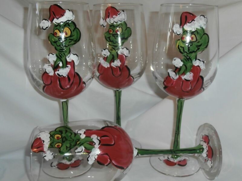 HAND PAINTED GRUMPY GREEN GRINCHY GUY 19 OUNCE GOBLETS/ SET/4(MADE IN THE USA)