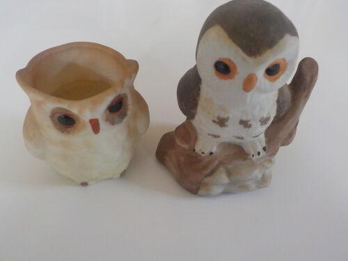 Vintage ceramic mini owl figurines set of two