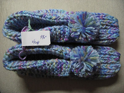 """Amish Handmade Knitted Hs Slippers w/ Cuffs Pastels Womans Lg Mans Med 9 3/4"""""""