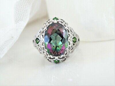 HSN Sterling Silver 925 Color Change Rainbow Quartz Big Filigree Ring Size 10