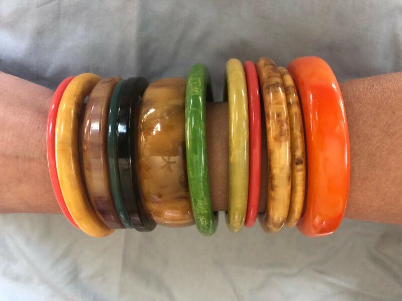 Vintage Bakelite and celluloid bracelet lot
