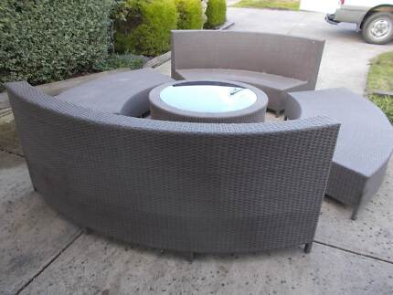 Outdoor Lounge Setting Rattan Wicker Cane 5 Piece Setting