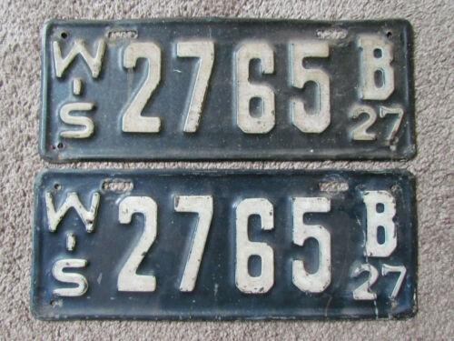 Vintage 1927 Wisconsin License Plate 2765 B Pair