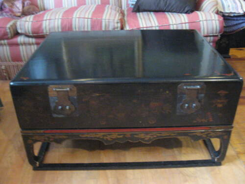 Antique Chinese Trunk Chest on Stand Painted Black & Red Lacquer Vintage Storage