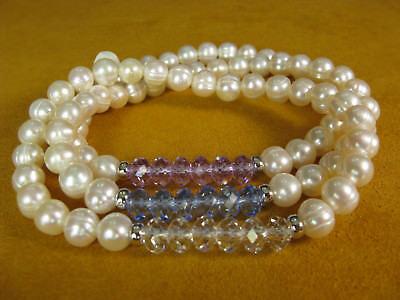 HONORA SET 3 WHITE PEARL STRETCH BRACELET GEMSTONE AMETHYST Gift