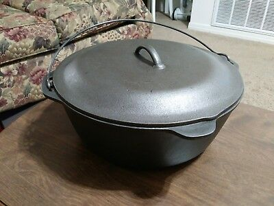 VINTAGE LODGE # 12 CAST IRON DUTCH OVEN CLEAN READY TO USE