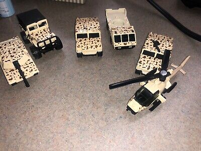 Matchbox Lot Of 6 Abrams 4x4 Jeep Hummers Helicopter Vintage Military Toys
