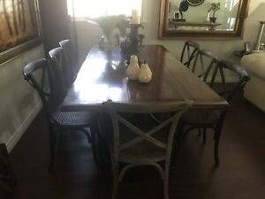 Restoration Hardware Dining Chairs(8) with ELTE Harvest Table
