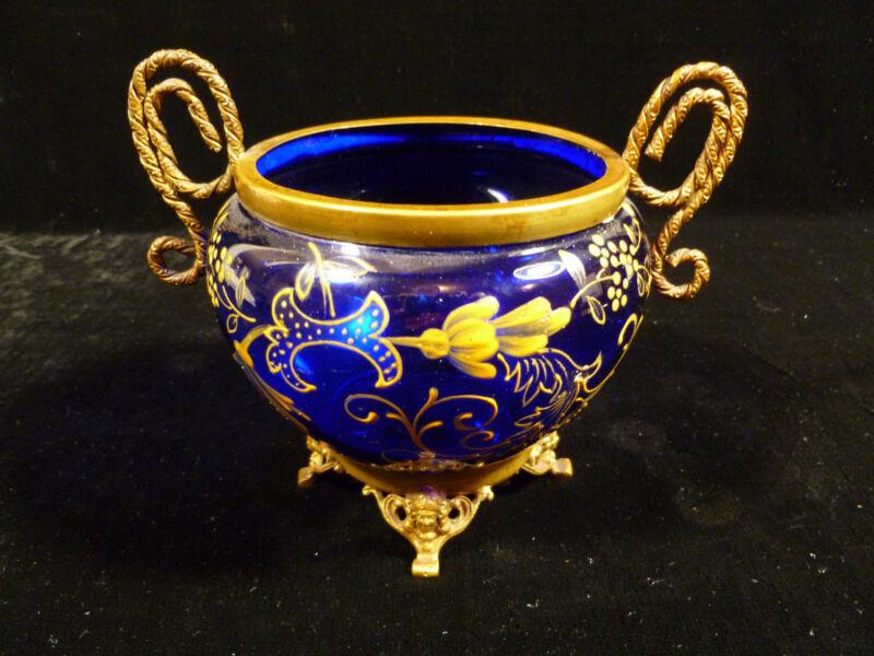 COBALT BLUE HAND PAINTED ENAMEL GLASS BOWL W/ BRASS HANDLES & CHERUBS - 1885