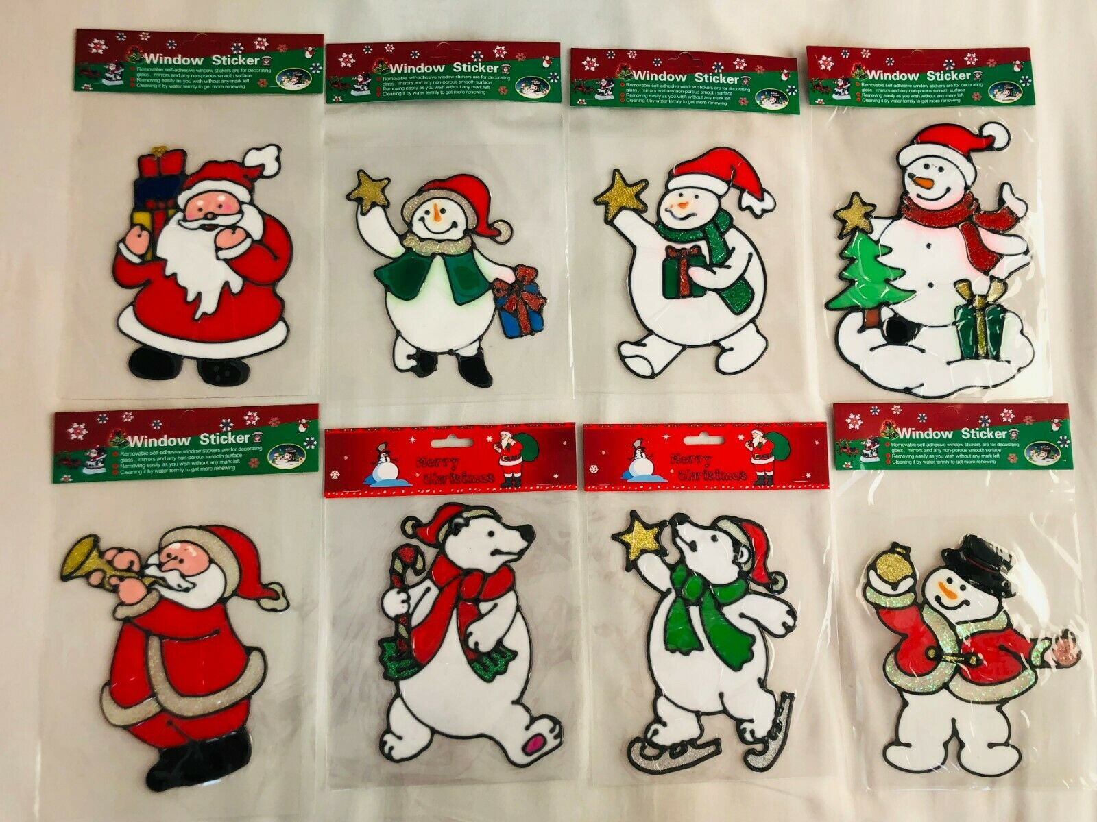 Home Decoration - Christmas Santa&Snowman Removable Window Gel Stickers Wall Art Home Decoration