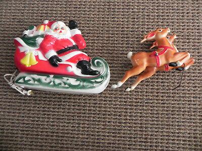 Vintage Empire Santa Sleigh And Reindeer BLow Mold 1970
