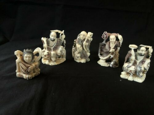 set of 5 Japanese Highly Detailed Hand Crafted figurines  /  Netsuke