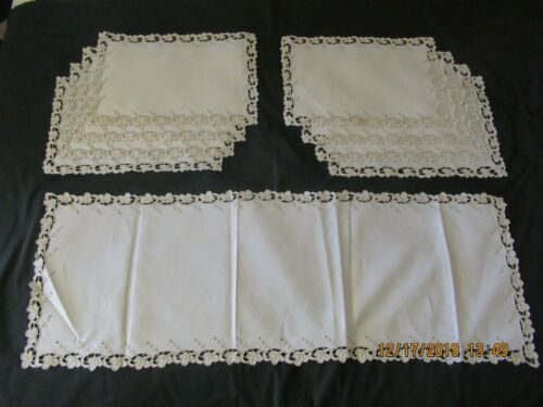 8 Antique Madeira Embroidered Lace Placemats Runner Napkins