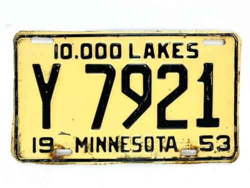 Minnesota 1953 Vintage License Plate Old Shorty Car Tag Classic Auto Man Cave
