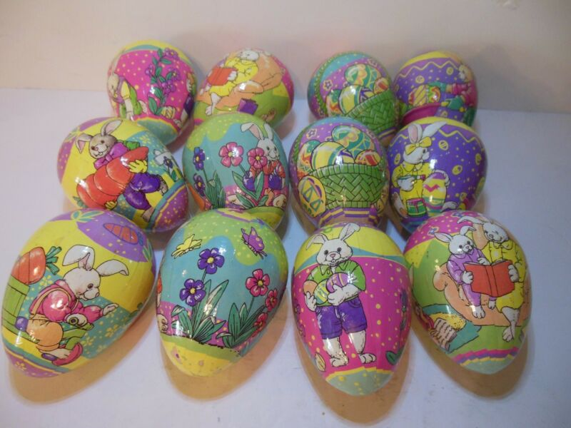 Vintage Vibrant Set Of 12 Decorative Easter Eggs Paper Mache Decoupage In Box