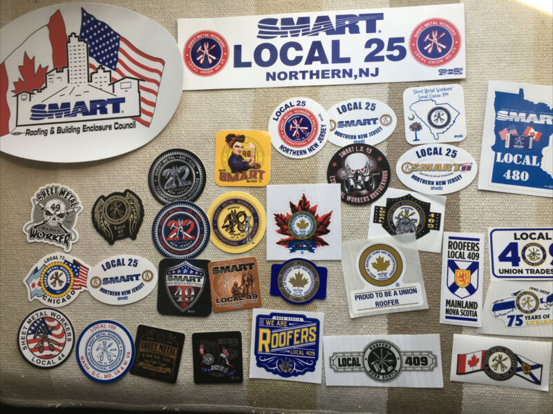 SMART Union Local Stickers Tin Knocker Sheet Metal Workers Lot Of 32!