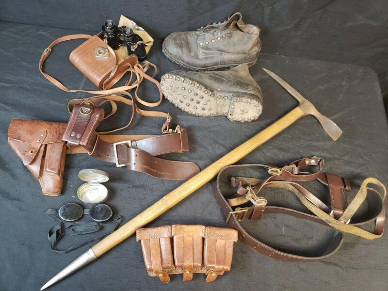 WWII German Gebirgsjager Mountain Troop Henke Hobnail Boots Ice Pick Axe FAO Vsw