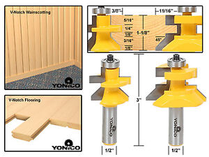Matched Tongue & Groove V- Notch Router Bit Set - 15227