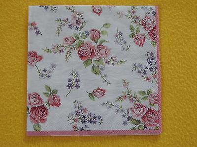 4 Stück Servietten ROSAMOND Rosen filigran roses 1/1 serviettentechnik Blumen