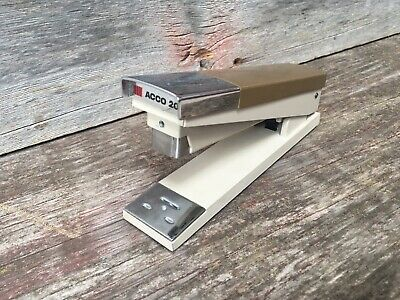 Vintage 1970s Acco 20 Tan With Chrome Heavy Duty Desk Stapler Office