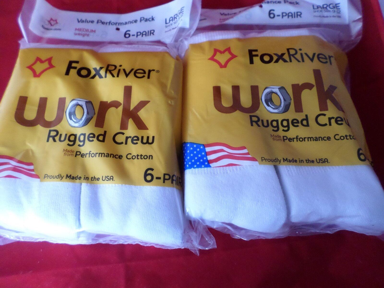 12 Pair Value Pack Fox River Cotton Cushion Crew Socks 9-...