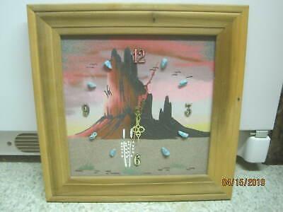 Vintage Original Art Sand Painting Clock on Board with Turquoise chunks Runs ()