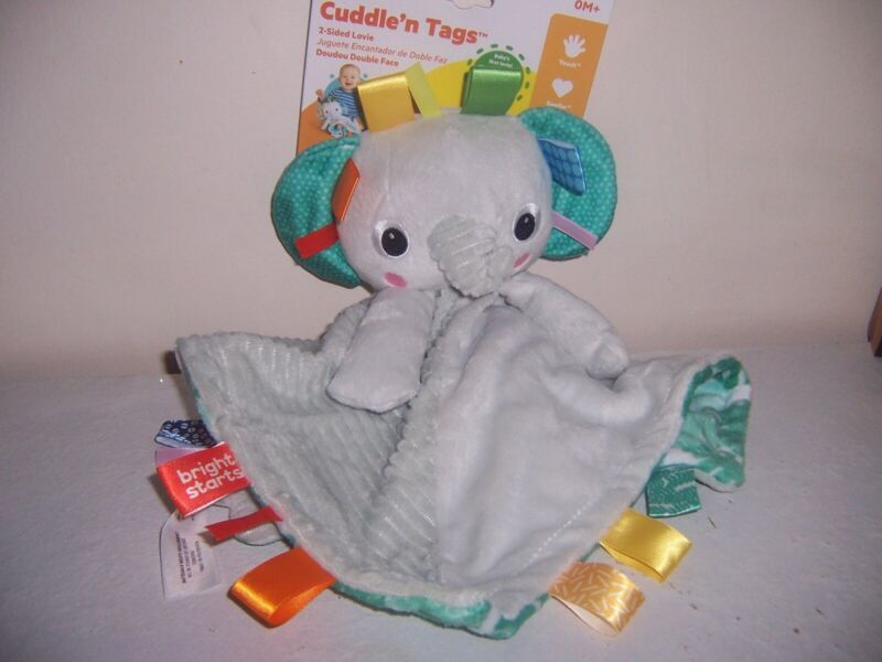 Bright Starts cuddle n tags elephants New lovey blanket  New