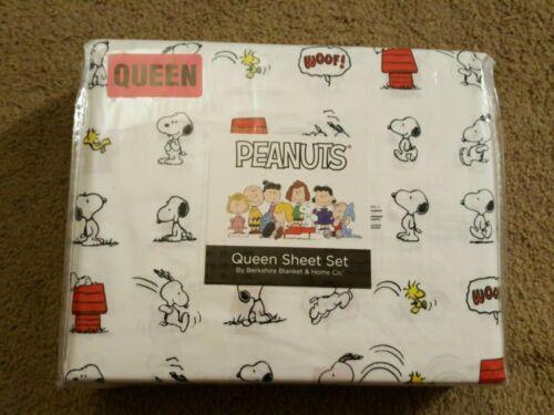 Peanuts Snoopy Black & White Dog Print Queen Sheet Set Berkshire Woodstock NEW