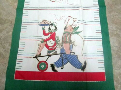 Vintage Print Tea Towel Comical CHEF PULLING CART w/WAITRESS Unused RARE