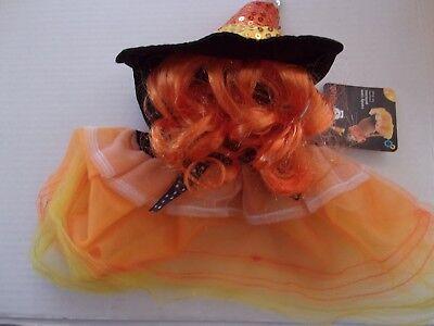 Candy Corn PRINCESS Dog Tulle New Halloween costume S/M petco witch hair hat ](Corn Dog Costume Halloween)