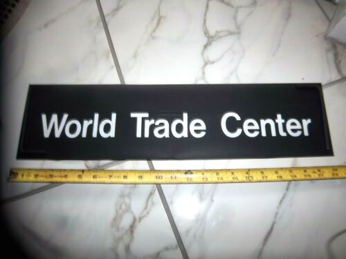 NY NYC SUBWAY ROLL SIGN WORLD TRADE CENTER TWIN TOWERS FINANCIAL DISTRICT URBAN