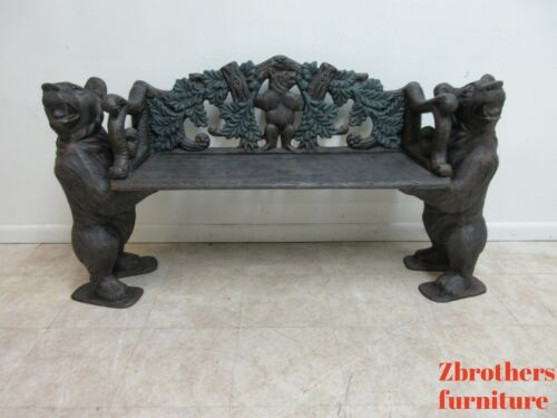 Cast Aluminum Black Forest Style Standing Bear Porch Bench Settee Love sea