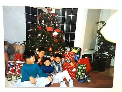 Vintage 80s Photo Christmas Eve Ugly Sweater Boys Around Christmas Presents Xmas ()