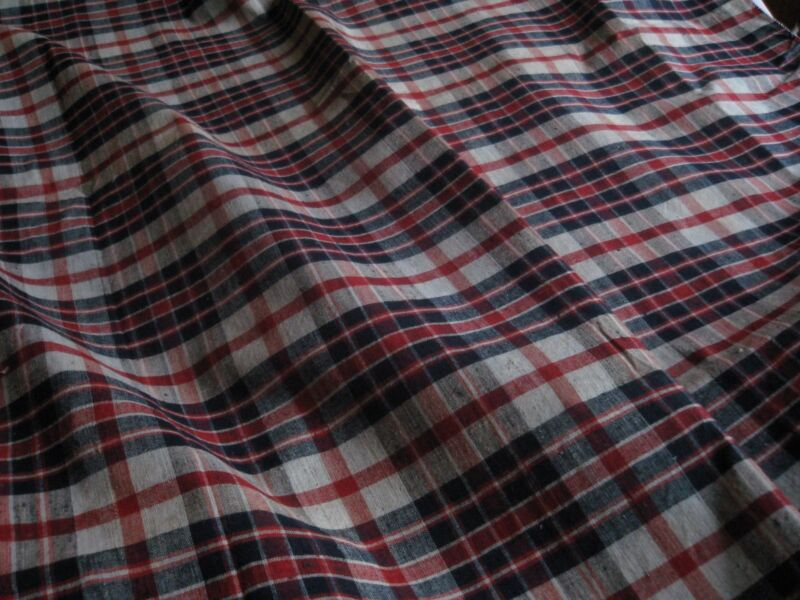 ANTIQUE FRENCH LINEN KESCH-Blue & Red -Small Duvet Cover Kelsch -Alsace -Unused