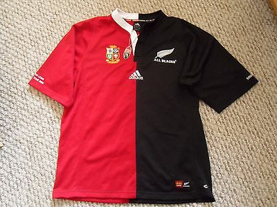 Rare New Zealand v Lions 2005 Tour Edition Shirt New Medium Half and Half Adidas
