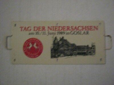 """Zuglaufschild,Metall, Miniatur,""""Tag der Niedersachsen""""am 10./.11.06.89 in Goslar"""