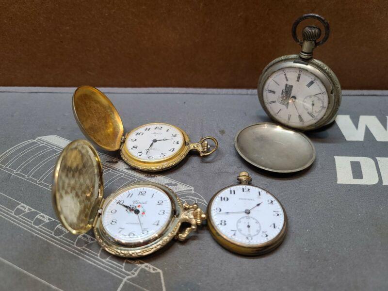 4-Vintage Pocket Watch LOT Alaska Silver, Principal, Marcel, ECT MAKE OFFER!