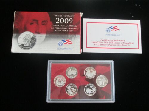 2009 District of Columbia and US Territories Silver Quarter Proof Set Box + COA