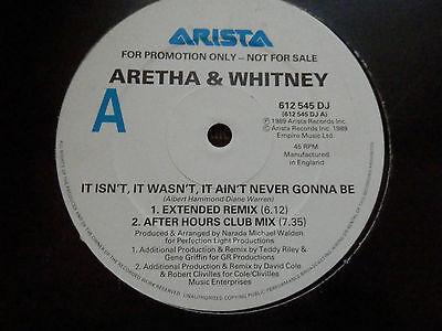 Whitney Houston Aretha Franklin It isn't it wasn't 4 mix 1989 U.K Promo rare