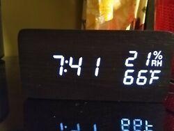 ORIA Digital Alarm Clock, LED Wooden Clock, 3Brightness, 3 Alarms