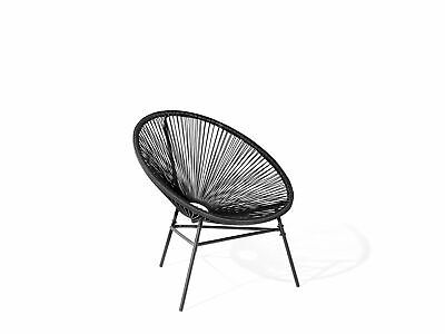 Modern Accent Chair Round Black Rattan Steel Living Room Acapulco