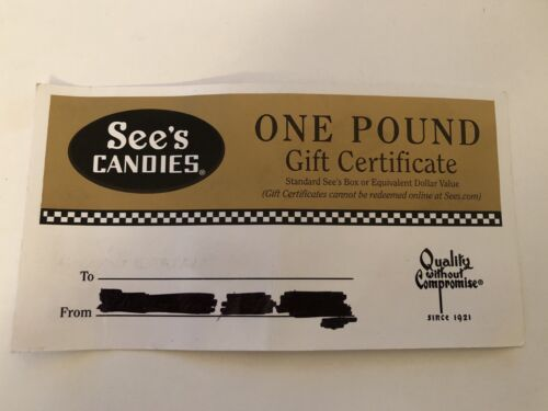 SEE S CANDIES ONE POUND 1lb BOX CHOCOLATES GIFT CERTIFICATE No Expiration 23.50 - $20.99