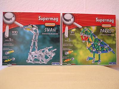 Set 2x Supermag Adventure Papagei Schwan Magnet Konstruktion 191 Teile NEU OVP