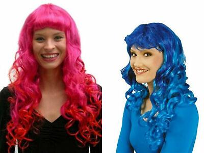 Perücke Langhaar Damen lockig pink oder blau Lockenperücke - Lockige Perücke Pink